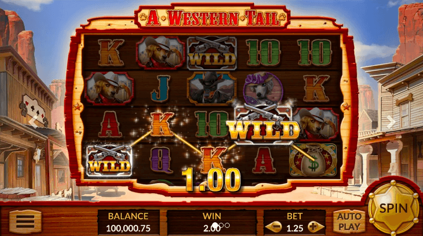 Screenshot of a western tail slot game