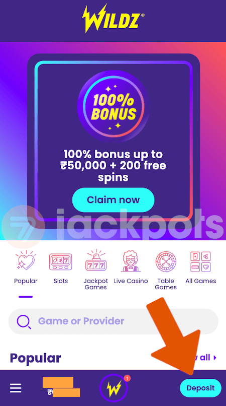 screenshot step 1 how to deposit