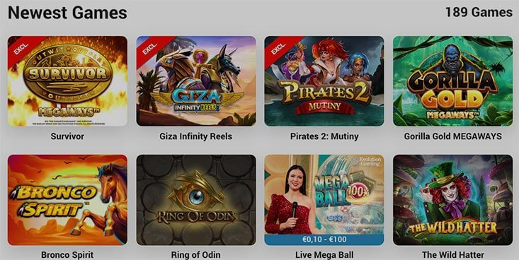 Image of new slot games from the lobby of Leo Vegas