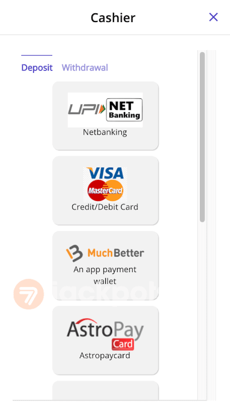 screenshot step 2 how to deposit