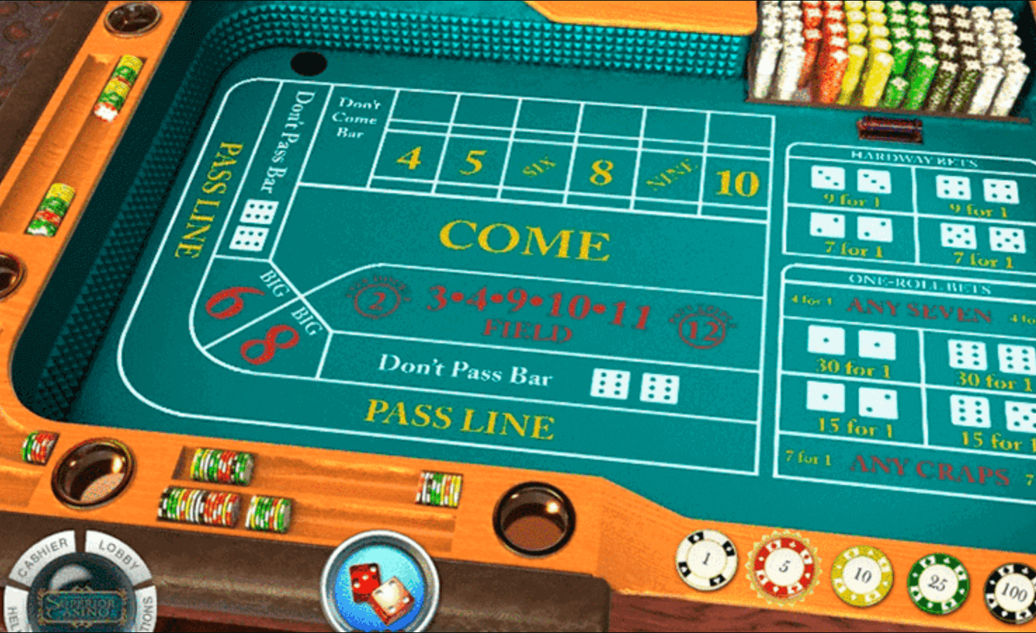 screenshot showing a craps table felt betting options