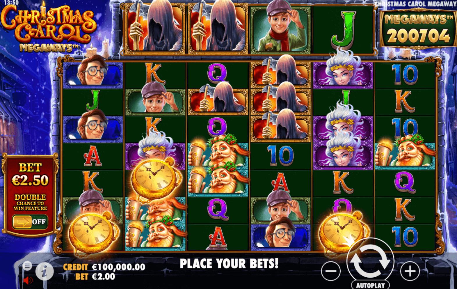 Screenshot from Christmas Carol Megaways Pragmatic Play slot