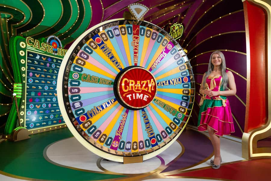 photo of the Crazy Time wheel and a Game Presenter