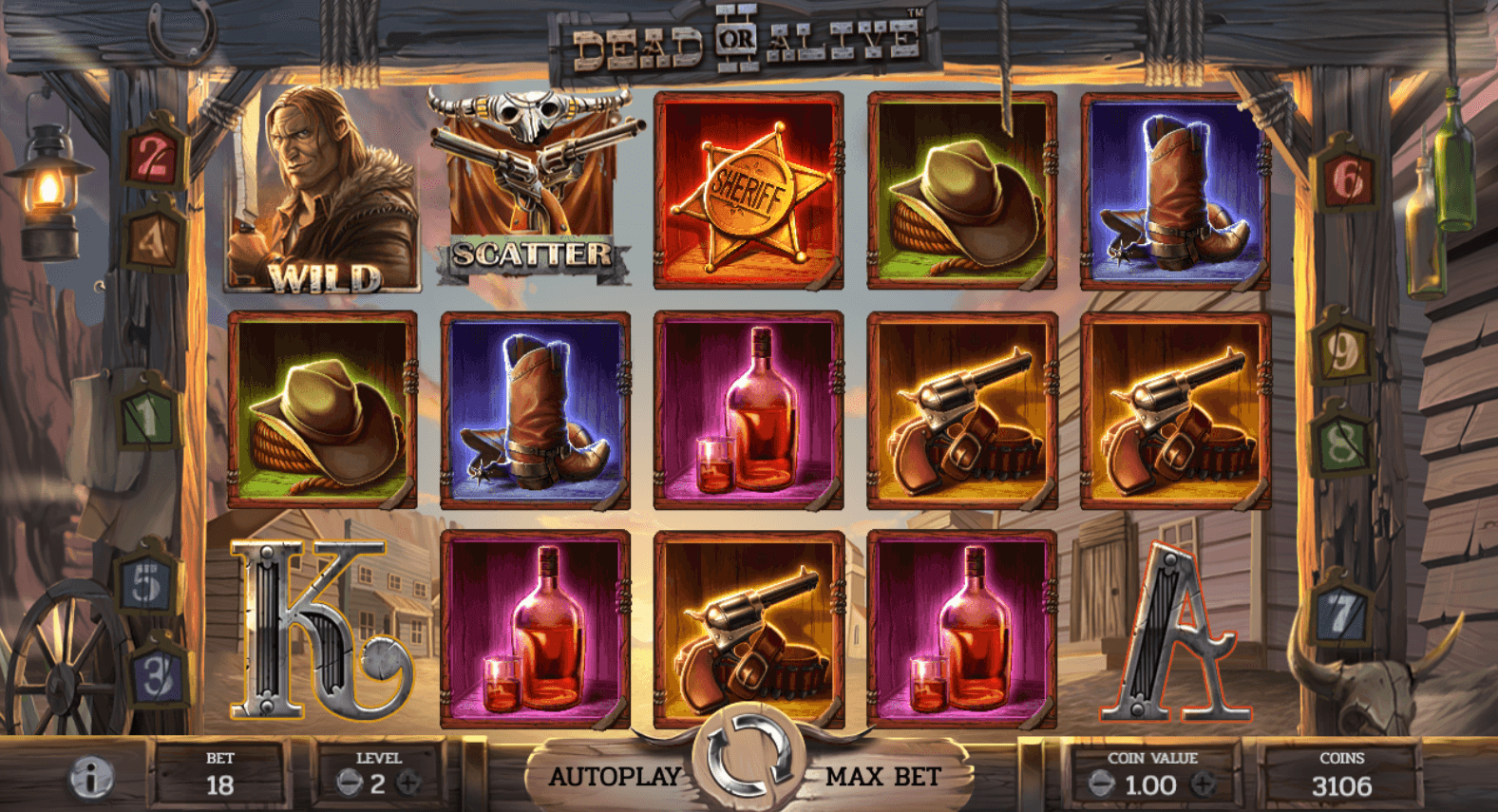 screenshot of Dead or Alive 2 slot gameplay interface