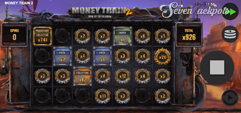 Screenshot of Money Train 2 slot showing big win