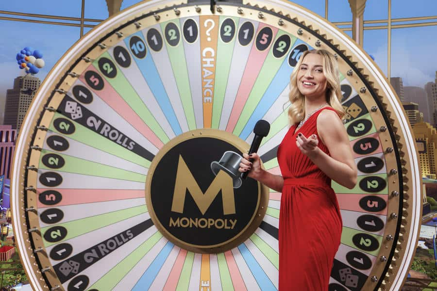 MONOPOLY Live game wheel and presenter