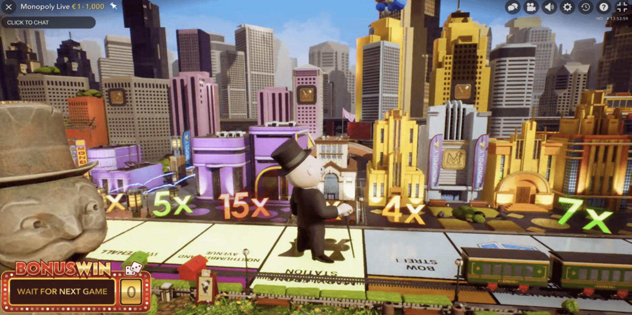 Screenshot of Mr.Monopoly walking on the bonus round board