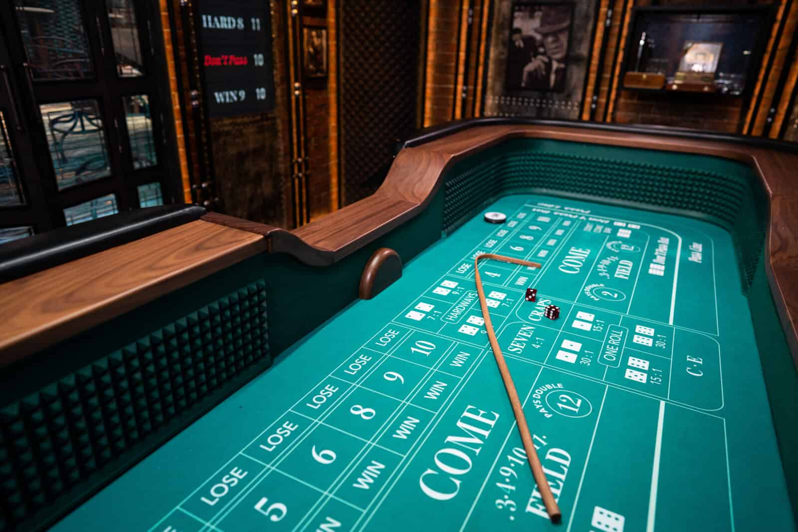 image of a craps table showing the felt and bet options.