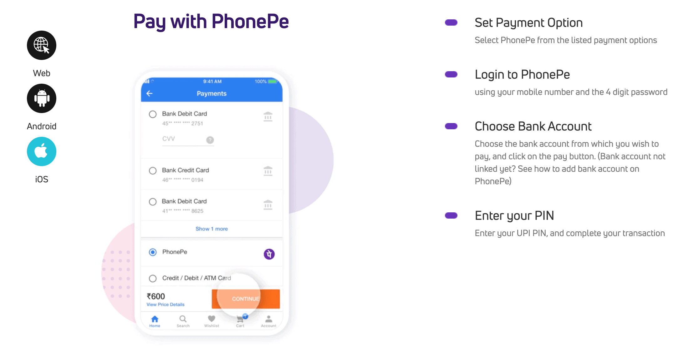 Screenshot on how to use PhonePe on iOS devices