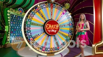 screenshot of the Crazy Time wheel and a Game Presenter