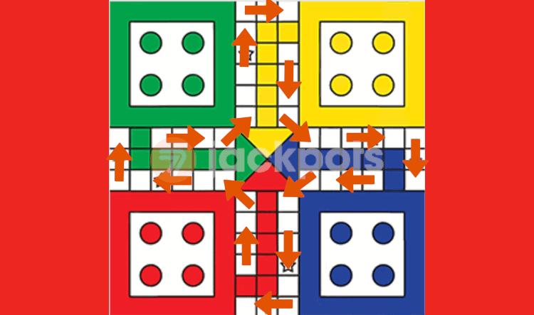 screenshot of ludo board movement pattern in arrows