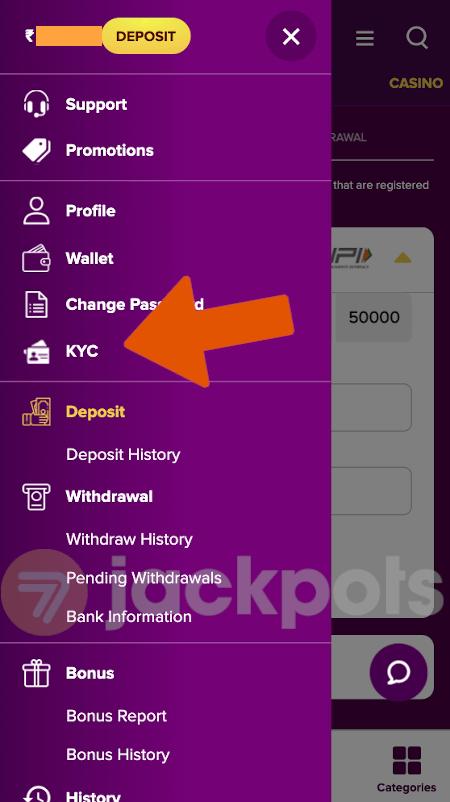 screenshot of side menu showing KYC section