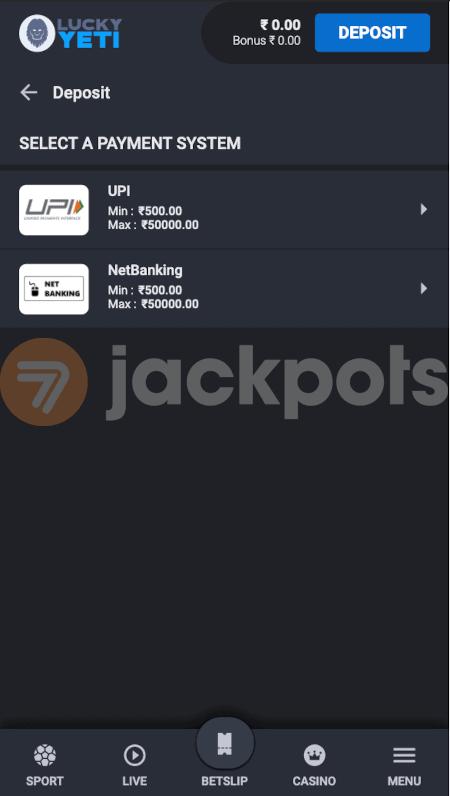 screenshot how to deposit step 2