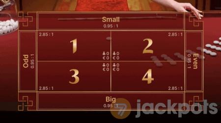 screenshot of default game view bets